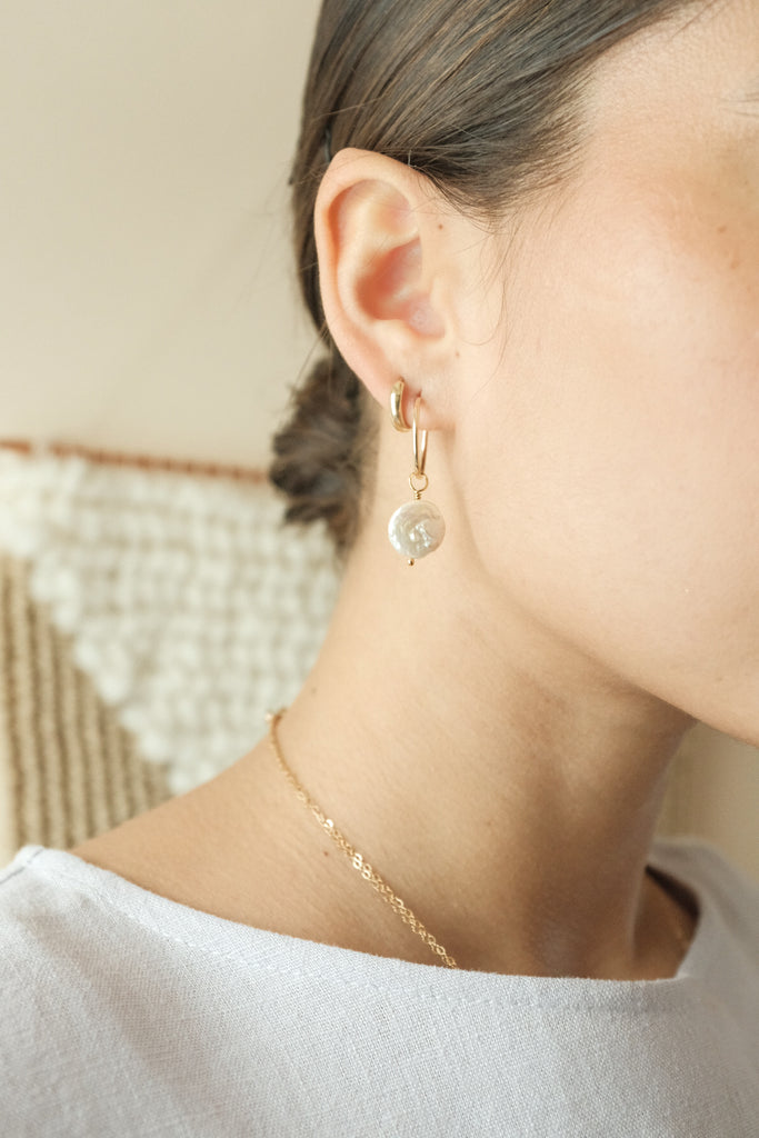 Gold Hoops with Coin Pearl Earrings | Coin Pearl Hoops | Protextor Parrish Jewelry | Golden Rule Gallery | Excelsior, MN