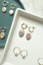 Load image into Gallery viewer, Threaded Pearl and Gold Hoops