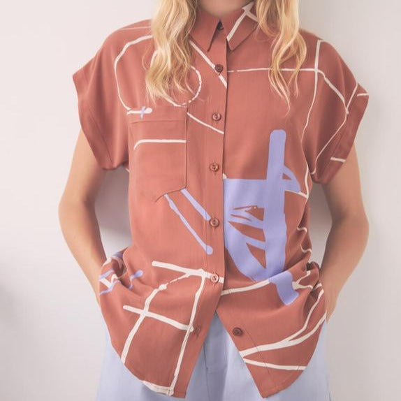 June Shirt in Ugo Terracotta | Abstract Blouse Shirt | Terracotta Art Button Down Shirt | Eve Gravel | Golden Rule Gallery | Excelsior, MN