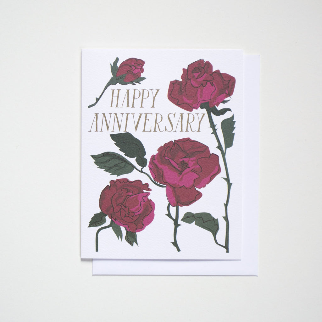 Happy Anniversary Rose Note Card | Banquet Workshop | Raspberry Roses | Anniversary Cards | Golden Rule Gallery | Excelsior, MN