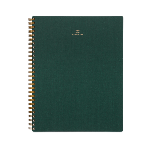 Appointed Linen Notebook in Hunter Green