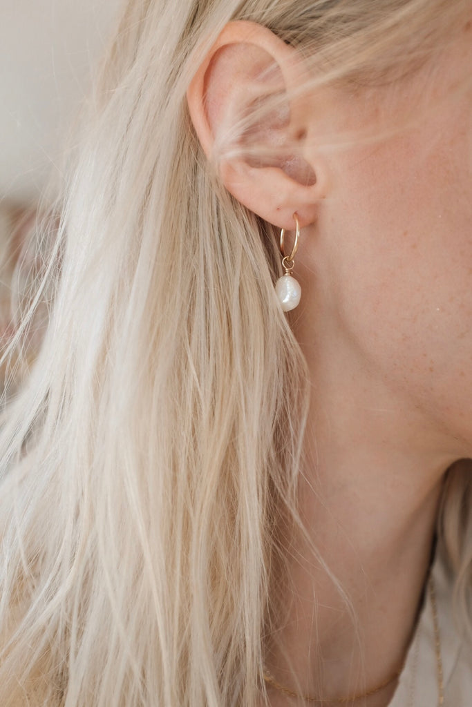 Delicate Pearls and Gold Hoops