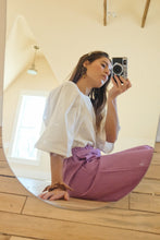 Load image into Gallery viewer, Purple Linen Bloom Pants