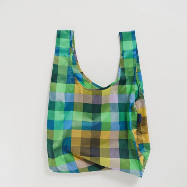 Baggu Standard Reusable Tote Bag In Madras No. 3 | Baggu Plaid Reusable Tote Bag | Golden Rule Gallery | Eco | Excelsior, MN