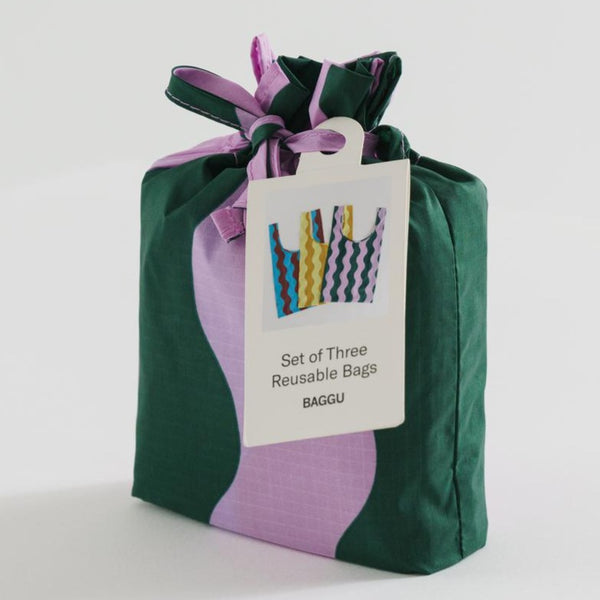 Baggu Reusable Tote Bag Set of Three in Wavy Stripes | Golden Rule Gallery | Excelsior, MN