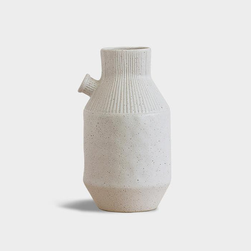 Spouted Vase In Speckled Off-White