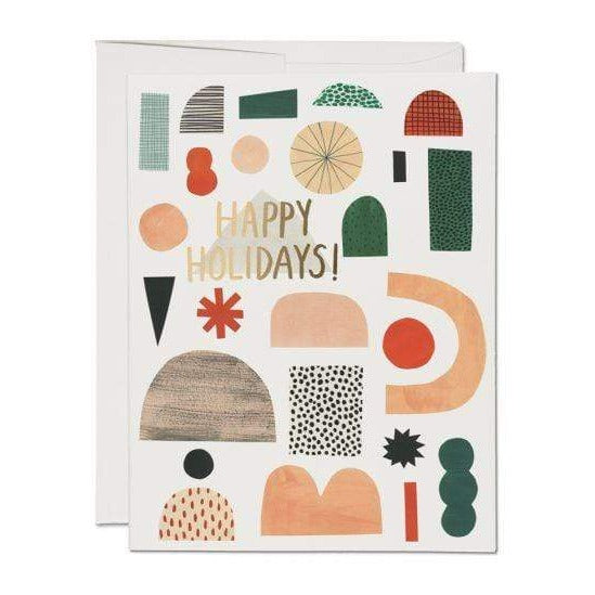 Christmas Shapes Card | Holiday Card | Happy Holidays Card | Red Cap Cards | Golden Rule Gallery | Excelsior, MN
