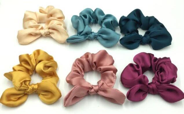 Petite Satin Scrunchies | Satin Bow Scrunchies | BRITTs. BOWs | Golden Rule Gallery | Excelsior, MN