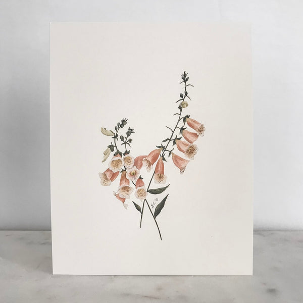 Watercolor Foxglove Floral Art Print | Esther Clark | Golden Rule Gallery