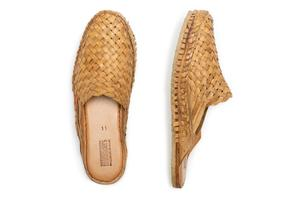 Woven City Slipper Slides in Natural Leather