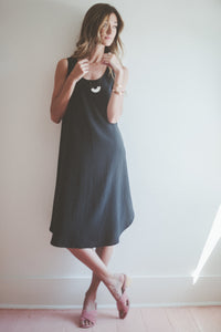 Covil Washed Silk Dress in Black