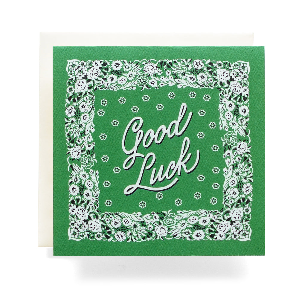 Good Luck Card | Antiquaria | Best of Luck Card | Lucky Card | Green Bandana Card | Golden Rule Gallery | Excelsior, MN