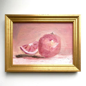Grapefruit Original Oil Painting in Gold Frame