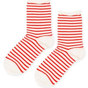 Nautical Stripe Crew Socks in Pink