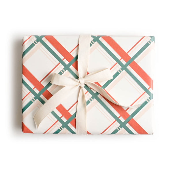 Vintage Holiday Plaid Gift Wrap | Holiday Wrapping Paper | Amy Heitman | Golden Rule Gallery | Excelsior, MN