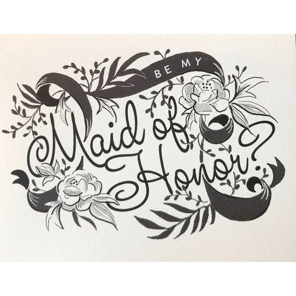 Be My Maid of Honor Card | Amy Heitman | Golden Rule Gallery | Excelsior, MN