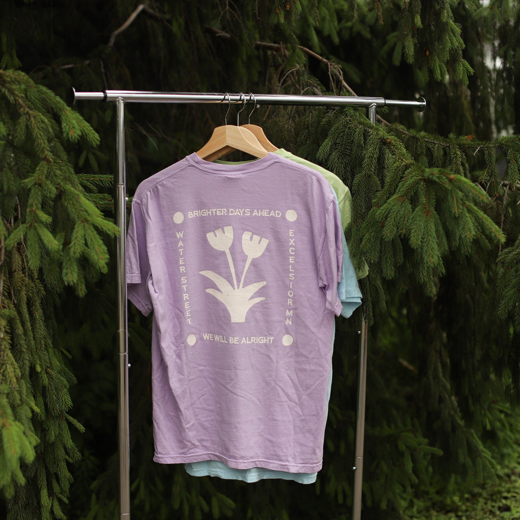 Brighter Days Ahead Tee Shirt in Orchid | Lavender Purple Tee Shirt | Charity Tee Shirt | Minneapolis Small Businesses | Golden Rule Gallery | Excelsior, MN