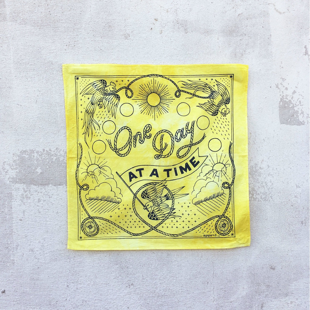 One Day at a Time Yellow Hand-Dyed Bandana | Apprvl | Golden Rule Gallery | Excelsior, MN