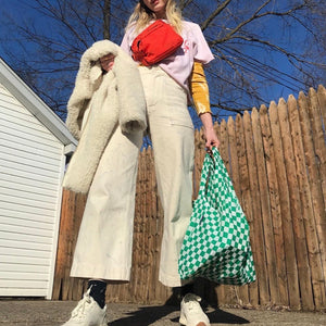Reusable Tote in Green Checkerboard