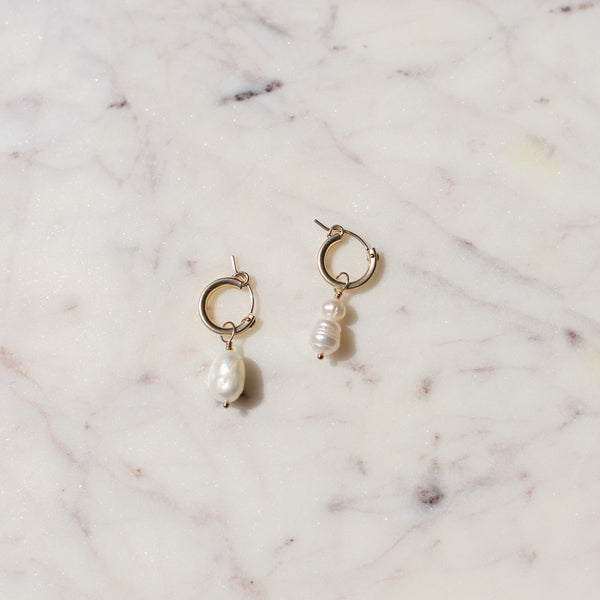 Beautiful Pearl and Gold Hoops | Asymmetrical Freshwater Pearl Hoops | Timeless Pearl Earrings | Mother's Day Gift Ideas | Minnesota Made | Protextor Parrish Pearl Jewelry | Golden Rule Gallery | Excelsior, MN