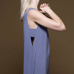 Covil Washed Silk Dress in Cloudy Blue