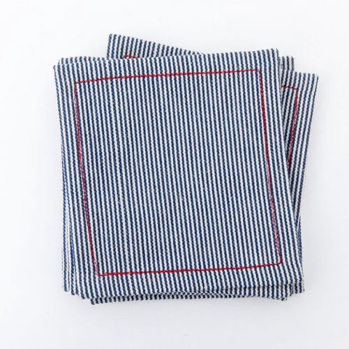 Railroad Stripe Cocktail Napkin Set