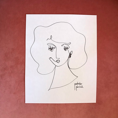 Original Single Line Contour Drawings On Japanese Paper