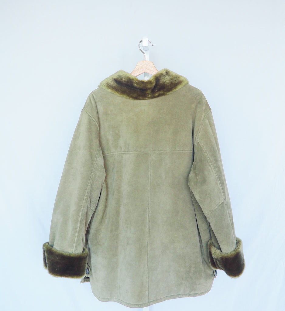 Vintage Sage Green Leather Coat | 1980s Dennis Basso Green Leather Coat | J'adore Beddor | MN Vintage Finds | Golden Rule Gallery | Excelsior, MN