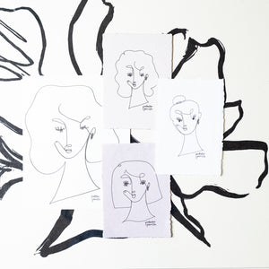 Original Single Line Contour Drawing - 803