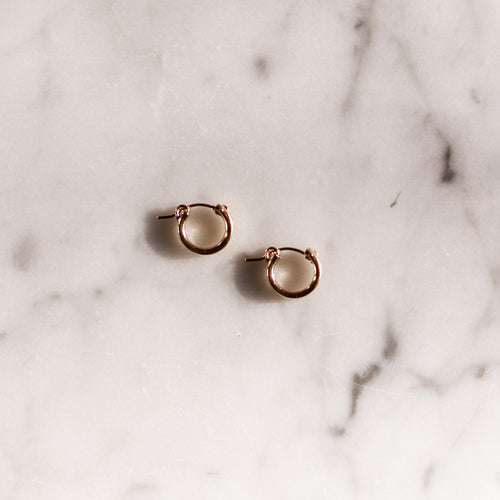 Gold Latch Hoop Earrings in 14 Kt Gold Fill