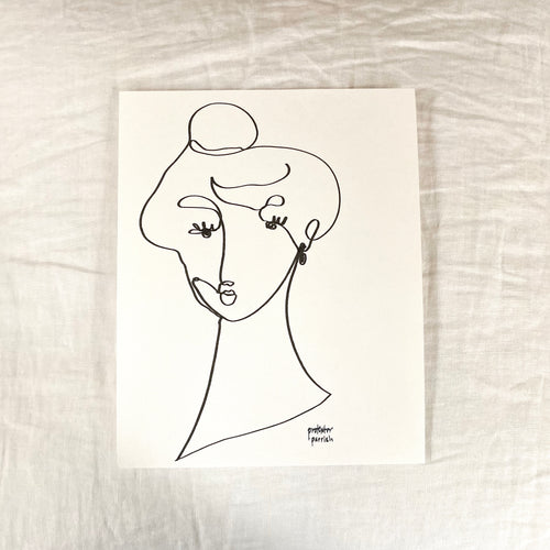 Original Single Line Contour Drawing - 808