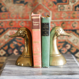 Vintage Brass Duck Bookends