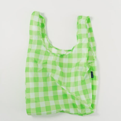 Reusable Tote In Big Check Lime