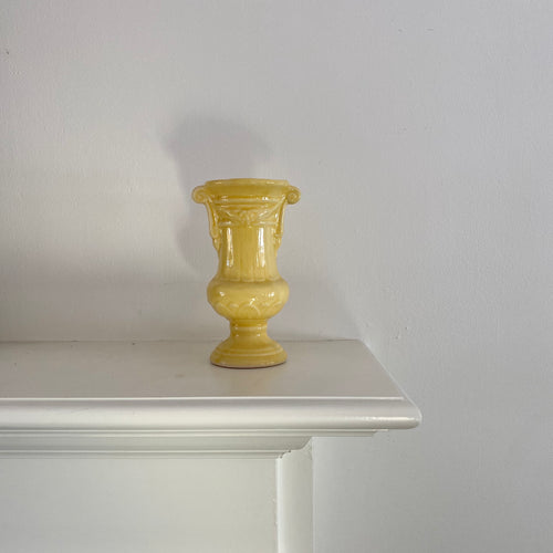 Vintage Yellow Urn Shaped Vase