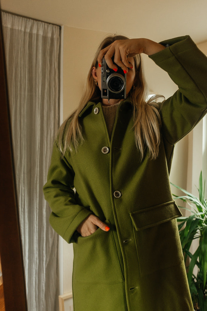 Green Long Trench Coat