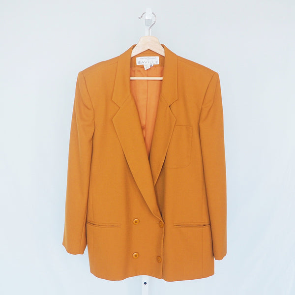 Vintage Rena Rowan from Saville Blazer | Vintage 80s Rust Brown Double Breasted Blazer | 1980s Orange Brown Blazer | J'adore Beddor | Golden Rule Gallery | Excelsior, MN