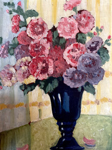 Antique Belgian Original Floral Still Life Oil Painting