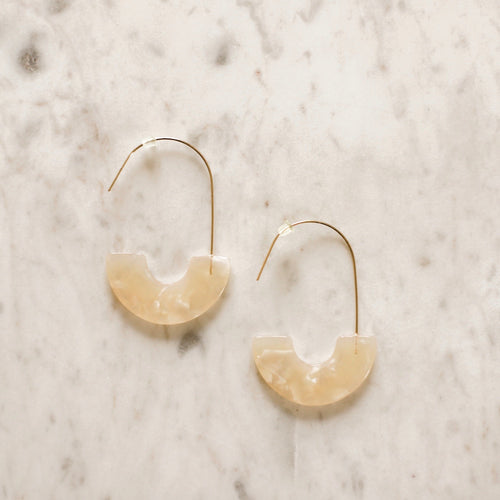 Luna Cream Tortoise Half Moon Earrings