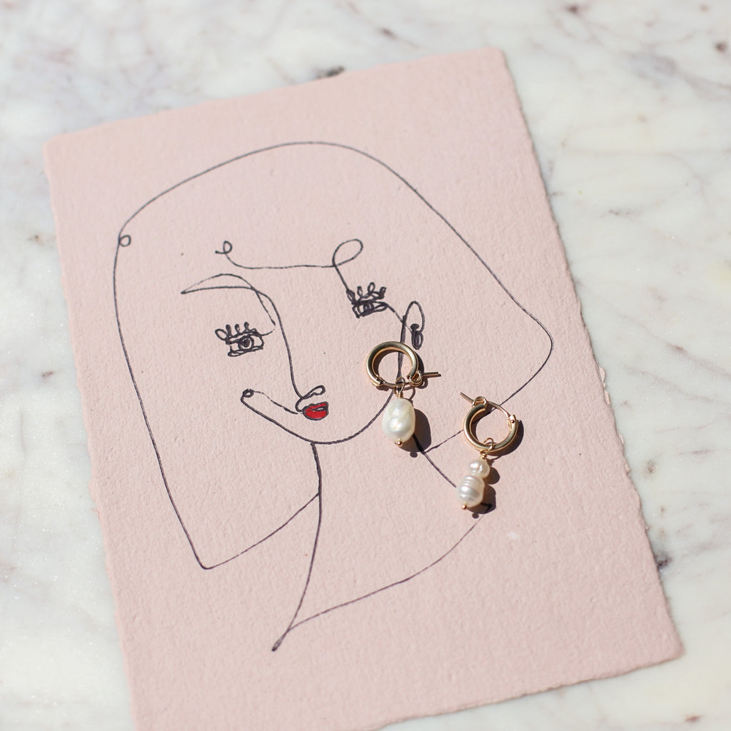 Pearl and Gold Hoop Earrings and Original Single Line Contour Drawing
