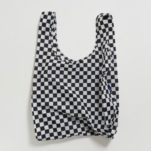 Reusable Tote in Black Checkerboard