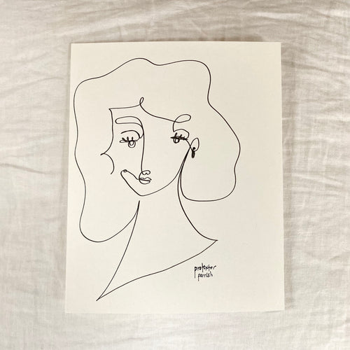 Original Single Line Contour Drawing - 806
