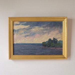 Sunset Seascape Vintage Oil Painting