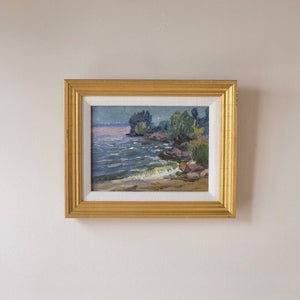 Shoreline View Vintage Oil Painting