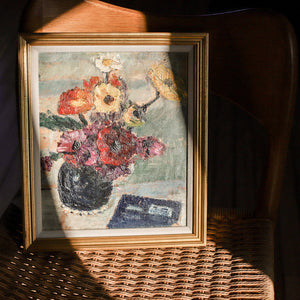 Vintage French Original Floral Still Life Oil Painting