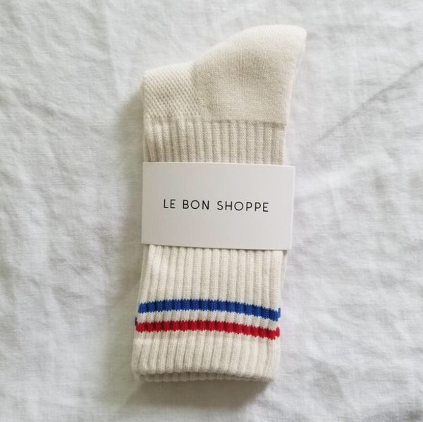 Boyfriend Socks in Milk | White Striped Tube Socks | Tall Striped Socks | Le Bon Shoppe | Golden Rule Gallery | Excelsior, MN