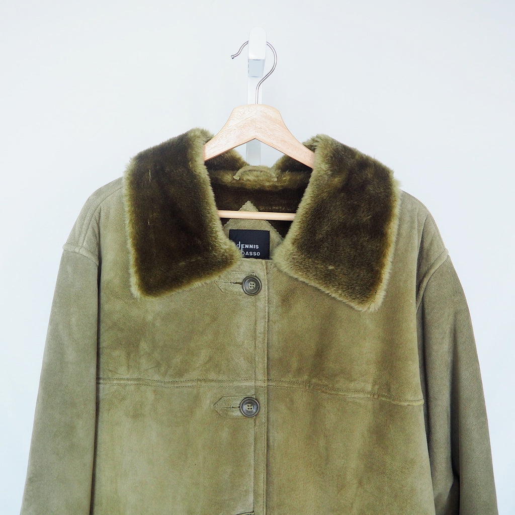 Vintage Dennis Basso Coat | Sage Green Vintage Coat | 1980s Leather Coat | J'adore Beddor Vintage | Golden Rule Gallery | Excelsior, MN