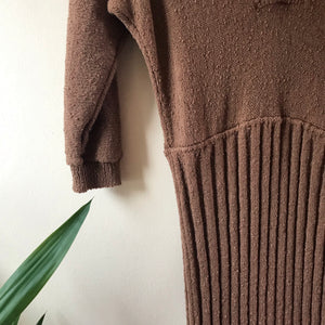 Tandem Vintage Mocha Knit 1950s Dress