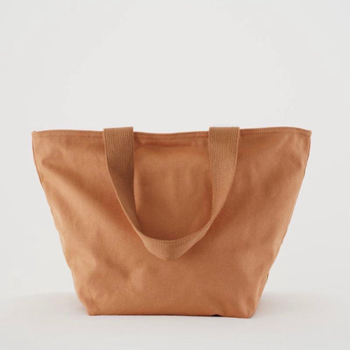Canvas Zip Tote In Pecan