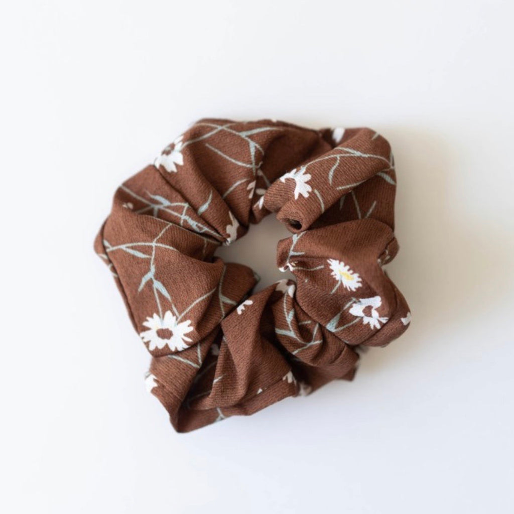 Brown Scrunchie | Brown Floral Scrunchie | Hair Accessories | Golden Rule Gallery | Excelsior, MN