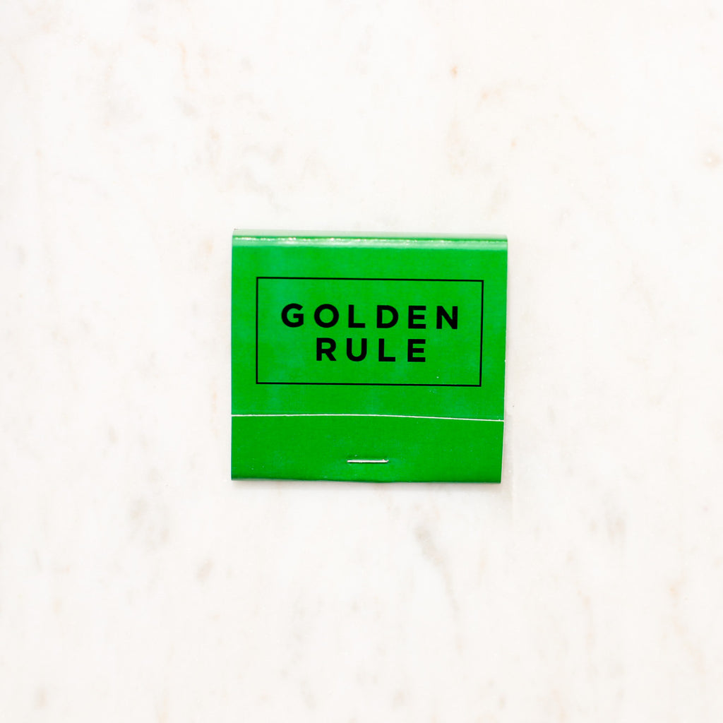 Golden Rule Branded Matchbook | Kelly Green Matches | Golden Rule Gallery | Excelsior, MN